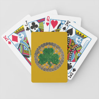 Gold Shamrock On Celtic Knots Playing Cards