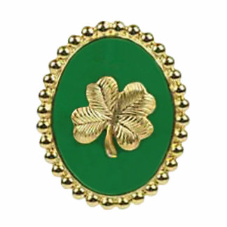 Gold Shamrock Oval Key Chain Cut Outs