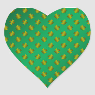 Gold shamrocks on green heart stickers