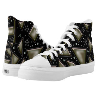 gold shard mirror printed shoes