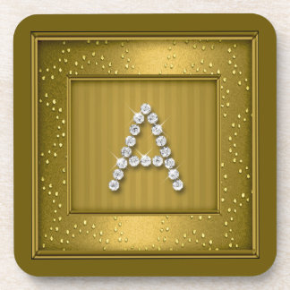 Gold Shimmer and Sparkle Mongram Coaster