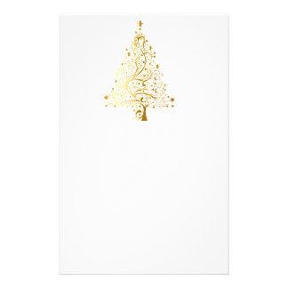 Gold Shimmer Christmas Tree Stationery