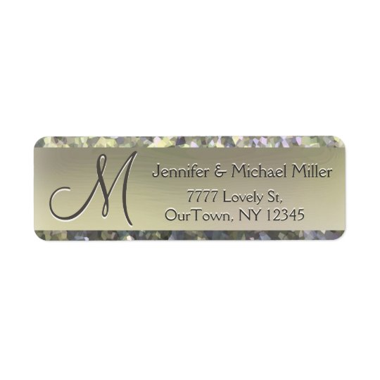Gold Shimmer Glitter Address Label