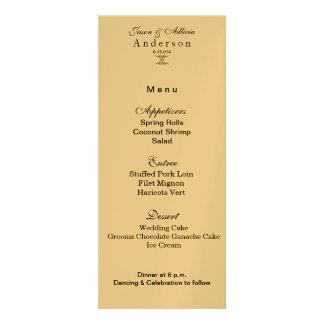 Gold Shimmer Menu Card for Weddings Galas