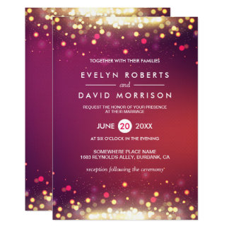 Gold Shimmer Sparkling Lights Formal Wedding Card