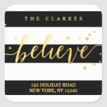 Gold Shine Believe | Holiday Address Label Square Sticker