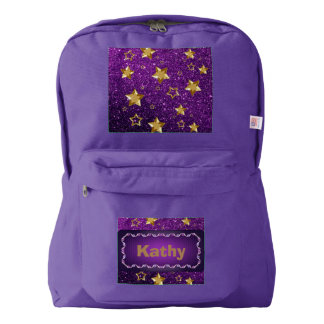 Gold Shiny Stars Purple Faux Glitter Backpack