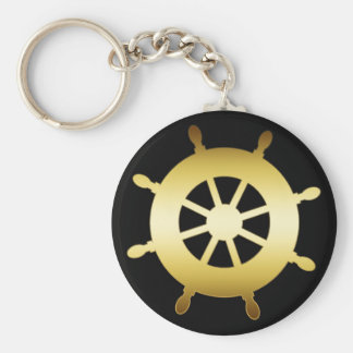 GOLD SHIP WHEEL BASIC ROUND BUTTON KEY RING
