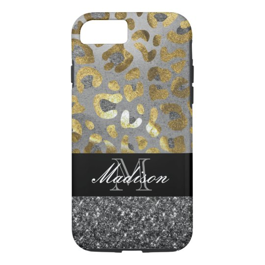 Gold Silver Animal Print Monogram Cell Phone Cases