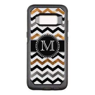 Gold, Silver, Black Chevron, Tough, Monogrammed OtterBox Commuter Samsung Galaxy S8 Case