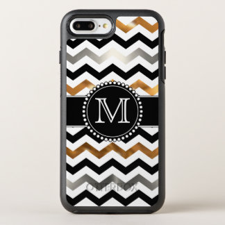 Gold, Silver, Black Chevron, Tough, Monogrammed OtterBox Symmetry iPhone 7 Plus Case