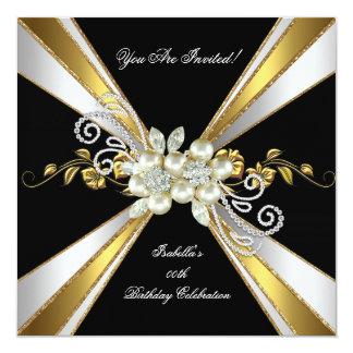 Gold Silver Black White Diamond Pearl Birthday 5 13 Cm X 13 Cm Square Invitation Card