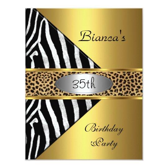 Gold Silver Black Zebra Leopard 35th Birthday Invitation