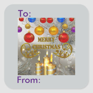 Gold Silver Christmas Candles Bulbs Gift Tag Square Stickers