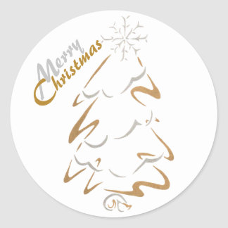 Gold & Silver Christmas Tree Classic Round Sticker