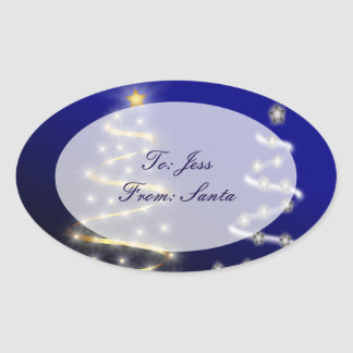 Gold & Silver Christmas Trees - Oval Sticker