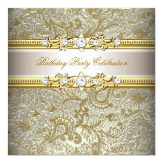 Gold Silver Cream Embossed Look Elegant Party Card