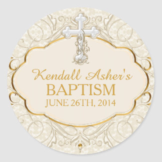 Gold & Silver Cross Baptism Christening Sticker