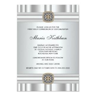 Gold Silver Cross Girls First Communion 13 Cm X 18 Cm Invitation Card
