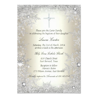 Gold Silver Crystal Snowflake Baptism/Christening Card