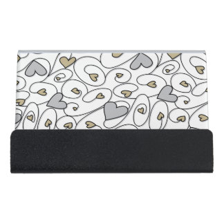 Gold & silver curly hearts desk business card holder