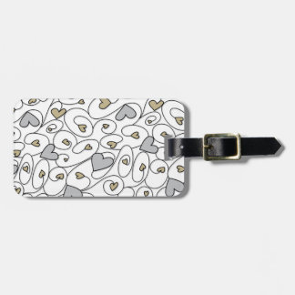 Gold & silver curly hearts luggage tag