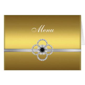 Gold Silver Diamond Black Jewel Menu Note Card