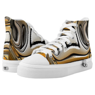 Gold Silver Digital Art Printed Shoes