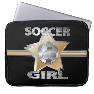 Gold Silver effect soccer girl star design Laptop Sleeve