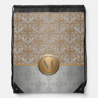 Gold Silver Floral Damask Monogram Drawstring Bags