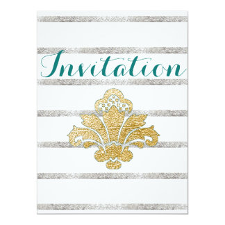 Gold/Silver Leaf Damask Engagement Invitation Teal