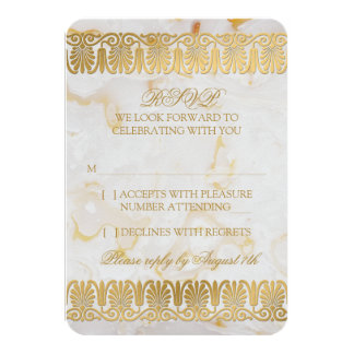 Gold Silver Marble Marbled Wedding RSVP Reply Personalized Invitations
