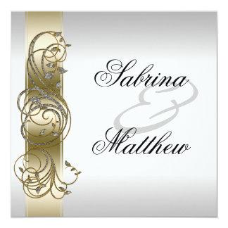 Gold Silver Ornate Formal Wedding Invitiation 5.25x5.25 Square Paper Invitation Card