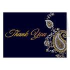 Gold Silver Paisley Hindu Wedding Thank You Card