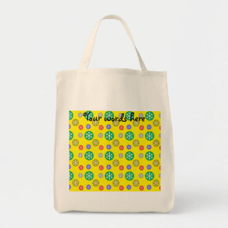 Gold silver red green snowflakes on yellow canvas bag