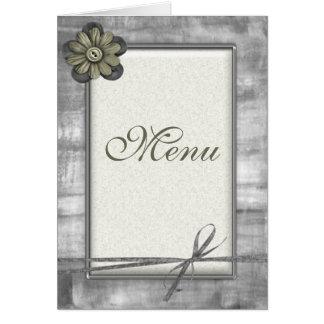 Gold & Silver Ribbon Flowers -  Wedding Menu Cards