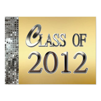 "Gold & Silver Sequins Graduation Invitations 6.5"" X 8.75"" Invitation Card"