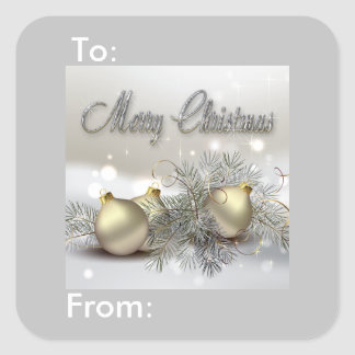 Gold & Silver Shimmer Christmas Ornaments Gift Tag