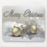 Gold & Silver Shimmer Christmas Ornaments Mousepads