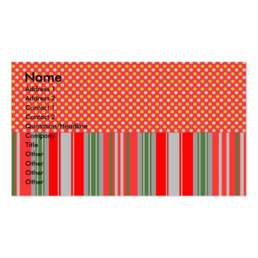 Gold silver snowflakes on red stripes business card