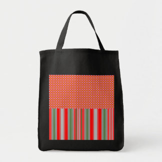 Gold silver snowflakes on red stripes tote bags