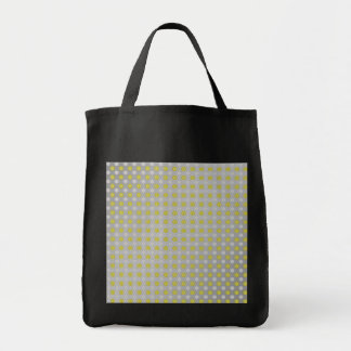 Gold silver snowflakes on silver grocery tote bag