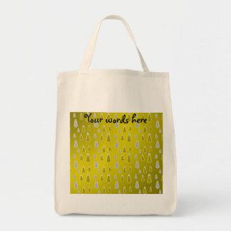 Gold silver snowmen on gold fade tote bag