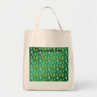 Gold silver snowmen on green fade tote bag