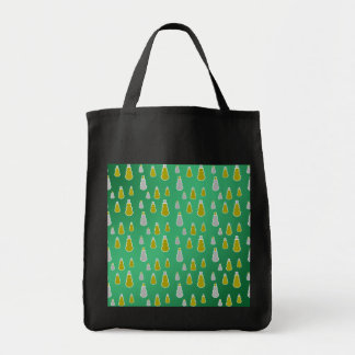 Gold silver snowmen on green fade bag