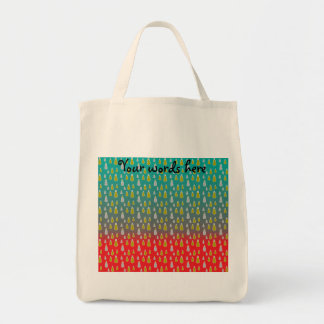 Gold silver snowmen on green red fade canvas bag