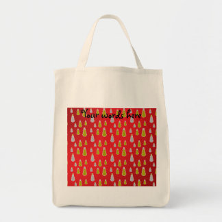 Gold silver snowmen on red fade canvas bag