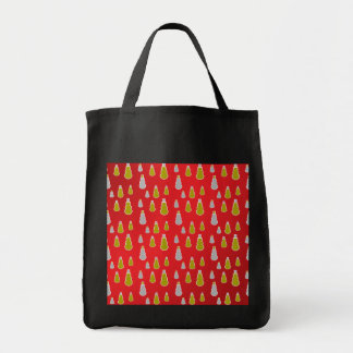 Gold silver snowmen on red fade tote bag