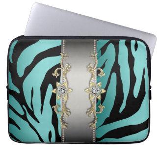 Gold Silver Teal Blue Zebra Laptop Sleeve
