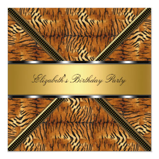 Gold Silver Tiger Birthday Party 5.25x5.25 Square Paper Invitation Card